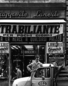 Salesman + typographic decor, Rome, 1956